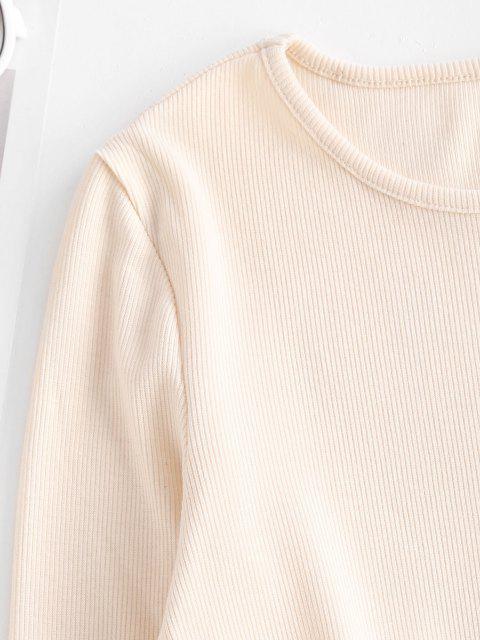 best Rib-knit Corset Detail Long Sleeve Slinky Dress - LIGHT COFFEE S Mobile