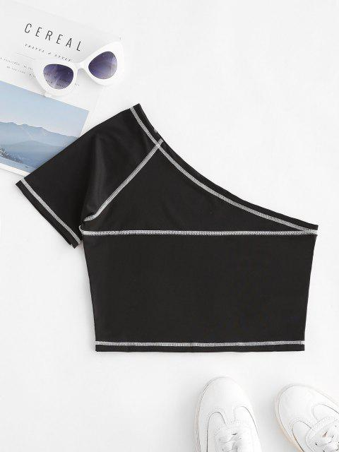 Einziger Schulter Slim Crop Top - Schwarz S Mobile