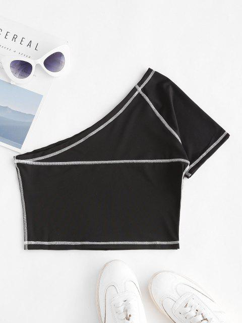outfits One Shoulder Topstitching Crop Top - BLACK M Mobile