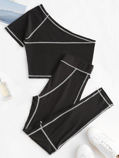 One Shoulder Topstitching Top And Leggings Set - Black S