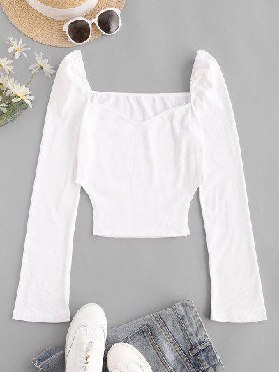 Rib-knit Long Sleeve Milkmaid Top - White M