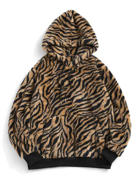 trendy ZAFUL Tiger Skin Pattern Fluffy Hoodie - MULTI S