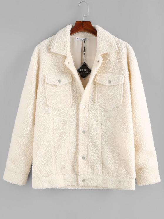 shop ZAFUL Solid Pocket Patch Teddy Jacket - WHITE 2XL