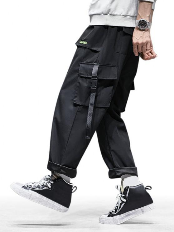 Letter Embroidered Toggle Drawstring Cargo Pants - أسود S