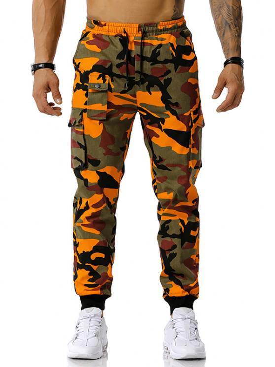 Jogger Pantalones de Estampado de Camuflaje de Cordón - Naranja S
