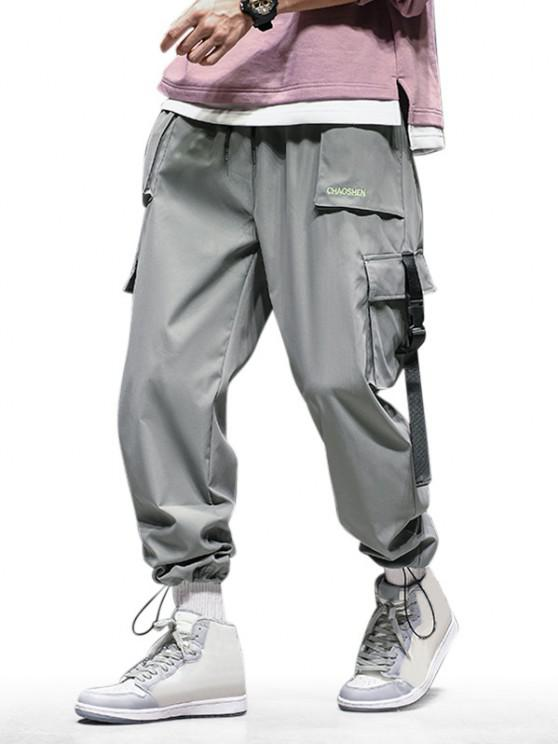 shop Letter Embroidered Toggle Drawstring Cargo Pants - BATTLESHIP GRAY XS