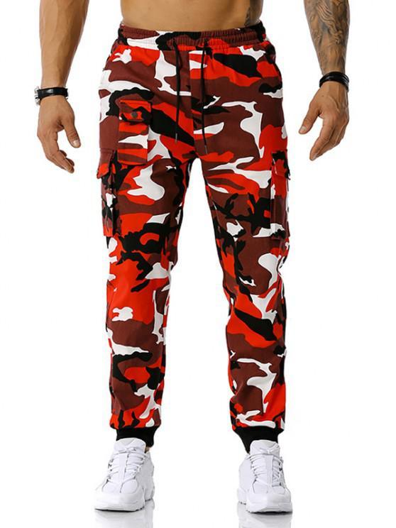Camouflagedruck Jogger Cargo Hose - Rot XXXL