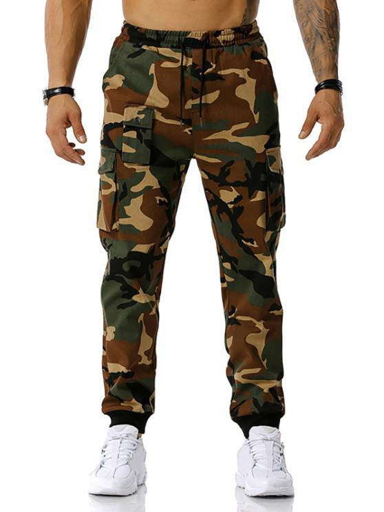 Jogger Pantalones de Estampado de Camuflaje de Cordón - Ejercito Verde L