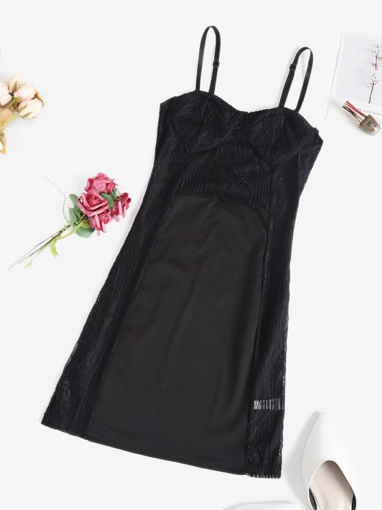 ladies Lace Panel Sheer Sexy Lingerie Cupped Dress - BLACK S