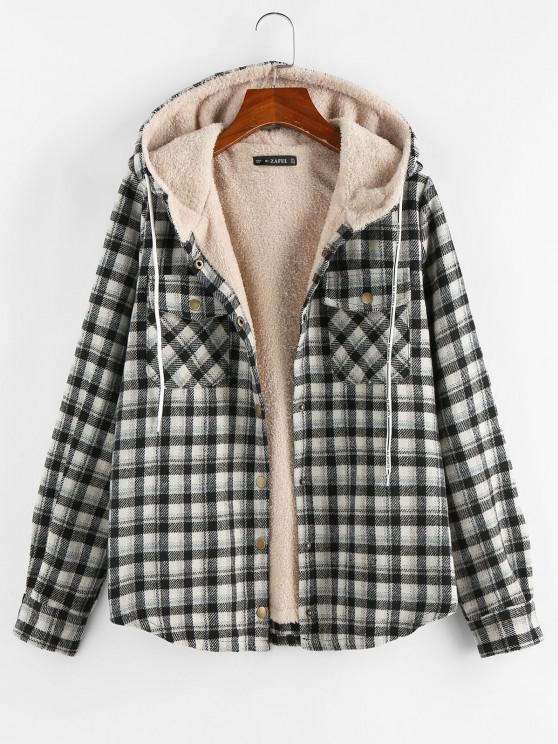 chic Plaid Hooded Pocket Fleece Lining Jacket - BLACK M