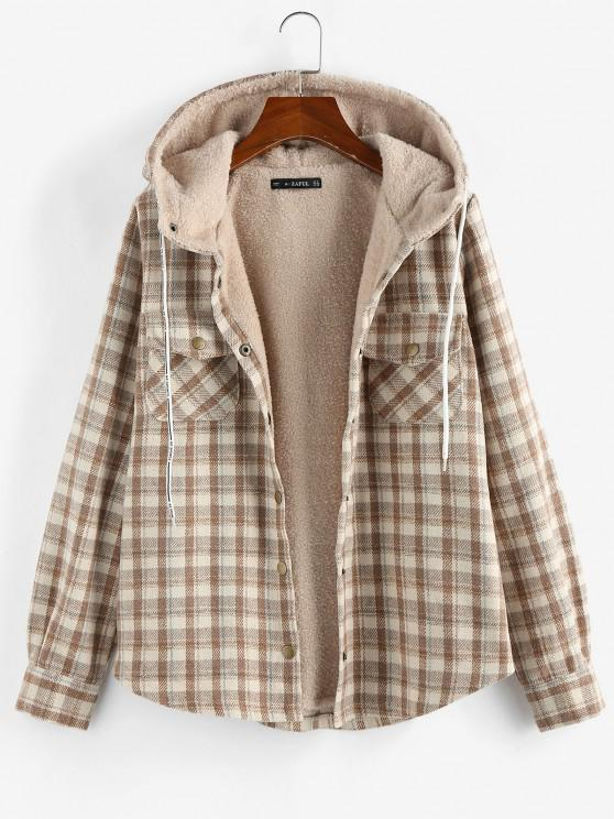 trendy Plaid Hooded Pocket Fleece Lining Jacket - APRICOT S