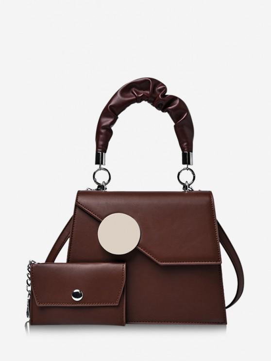best Coin Bag Pendant Geometric Pattern Handbag - COFFEE