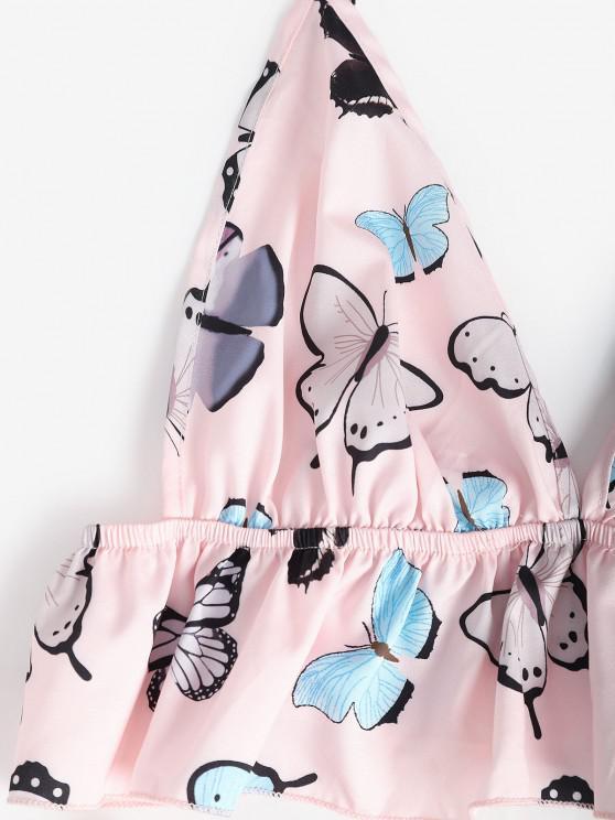 Flounce Butterfly Cami Pajamas Set - Light Pink S   ZAFUL