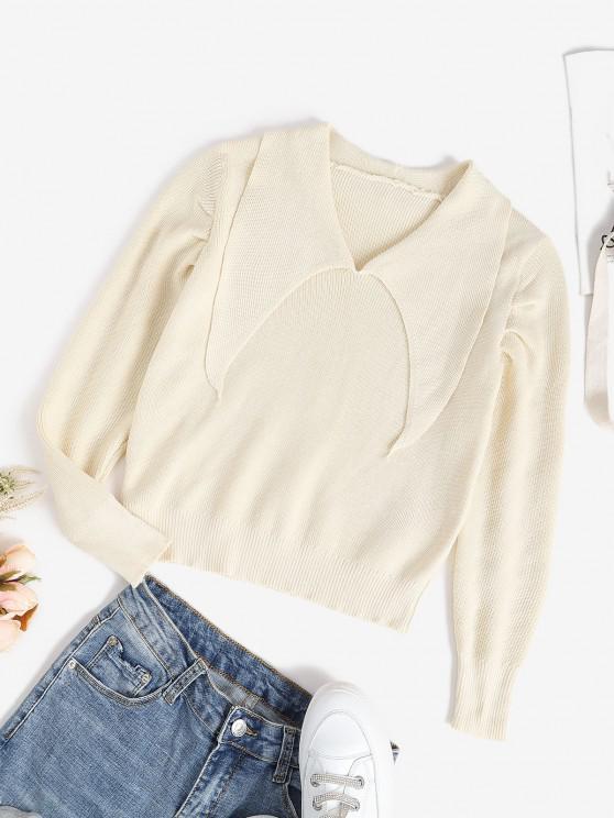 Camisola Lisa Tricotada Plana com Gola de V - Branco Um Tamanho