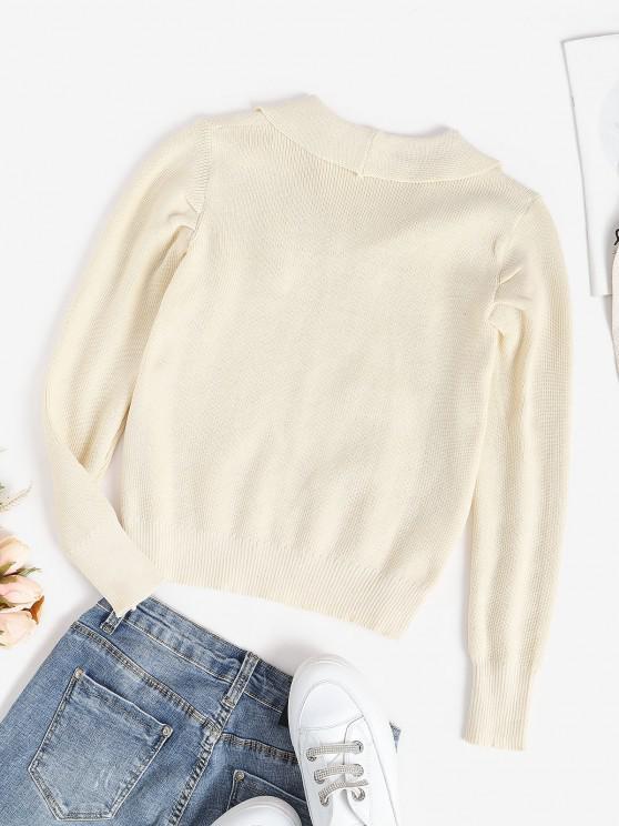 Flat Collar Knitted Plain Sweater - White | ZAFUL