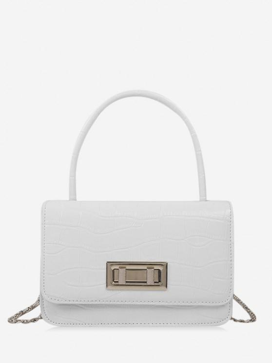 fashion Embossed Rectangle Chain Handbag - MILK WHITE