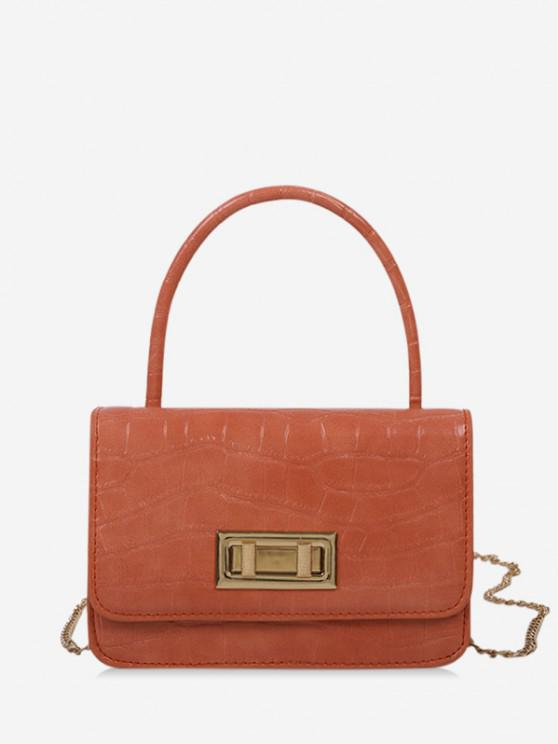 chic Embossed Rectangle Chain Handbag - ORANGE PINK