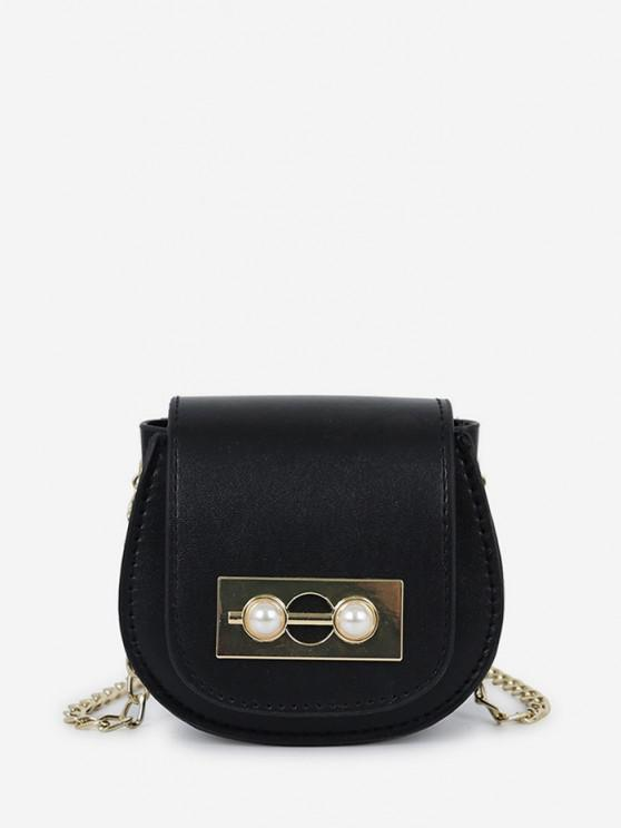 shop Faux Pearl Chain Saddle Bag - BLACK