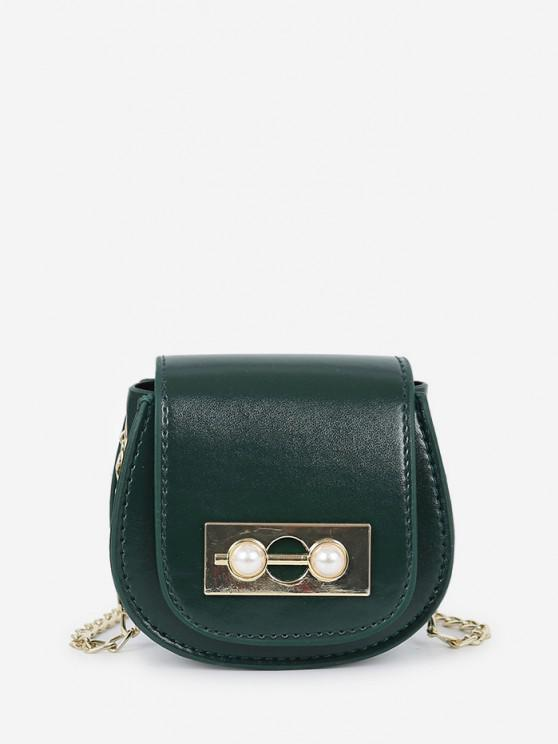 Bolsa Cadena Perla Artificial - Verde de Bosque Oscuro