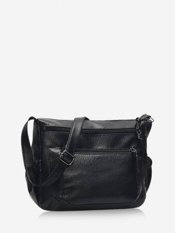 unique Casual Zipper Pockets Crossbody Bag - BLACK