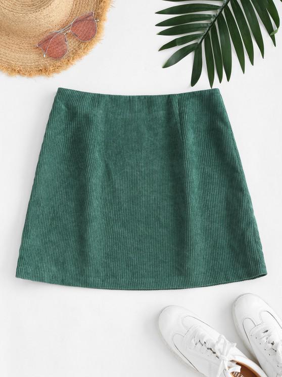 ladies ZAFUL Corduroy Bodycon Mini Skirt - GREEN S
