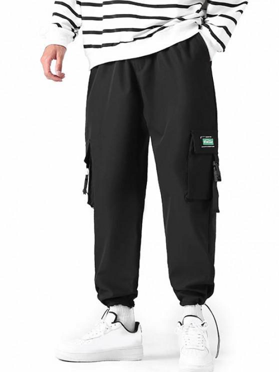 best Buckle Strap Letter Applique Cargo Pants - BLACK M
