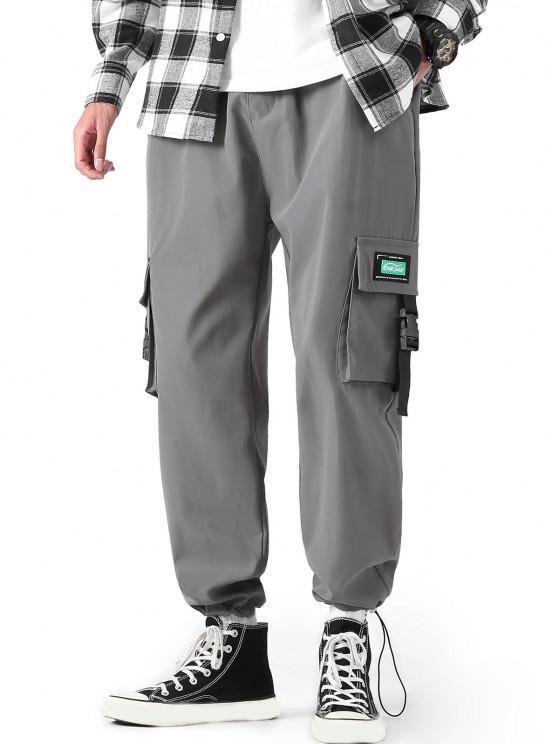 Pantalon Cargo Lettre Applique à Bretelle Bouclée - Cuirassé Gris S