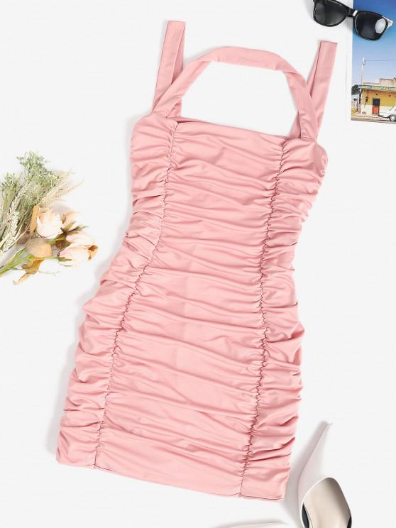 ladies Ruched Slinky Sleeveless Bodycon Dress - LIGHT PINK M