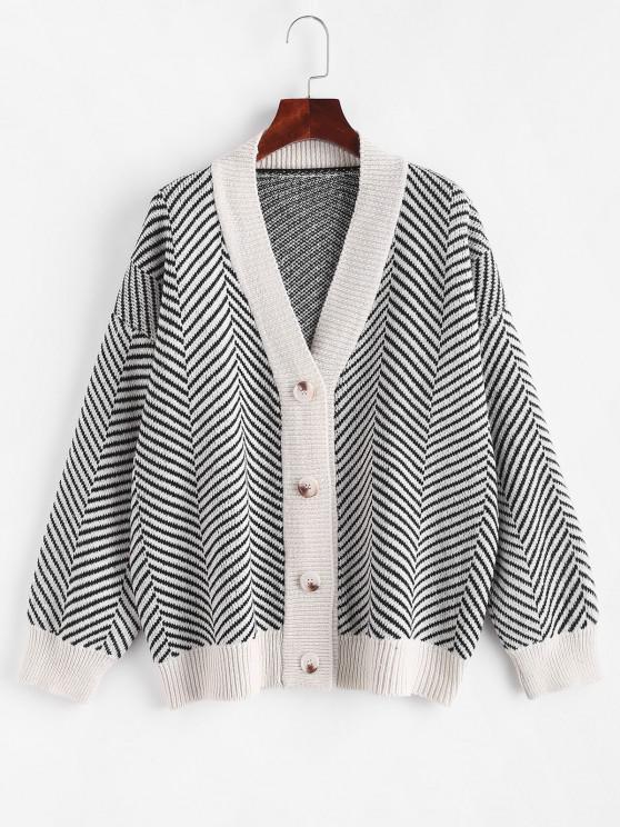 Button Up Stripes Oversized Cardigan - الأبيض الدافئ حجم واحد