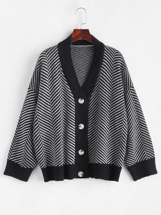 fashion Button Up Stripes Oversized Cardigan - GRAPHITE BLACK ONE SIZE