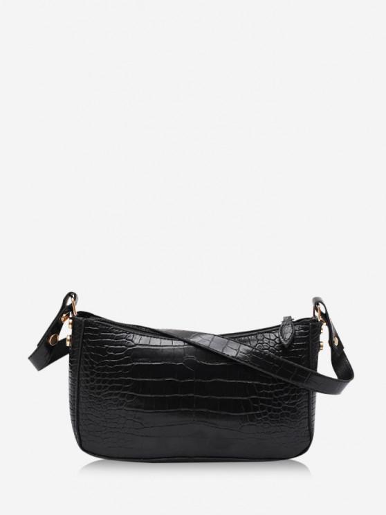 women French Style Solid Shoulder Bag - BLACK