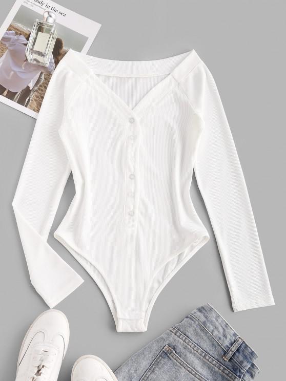 Bodysuit con Manga Larga de Punto a Presión - Blanco M