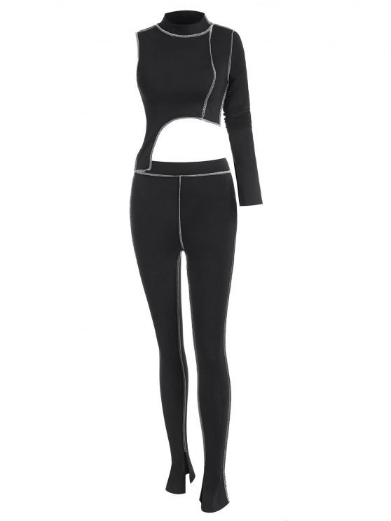 sale 2PCS Topstitching Asymmetrical Top and Split Hem Leggings Set - BLACK L