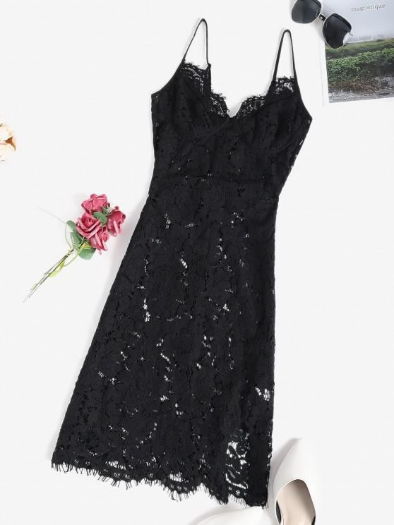 buy Lace Sheer Slit Sexy Cami Babydoll - BLACK S
