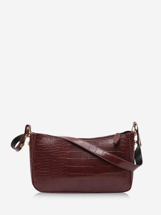 fancy French Style Solid Shoulder Bag - DEEP BROWN