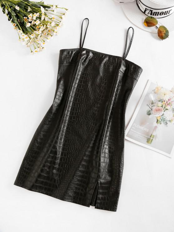 trendy ZAFUL Front Slit Faux Leather Mini Dress - NIGHT L