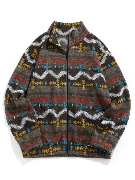 women's ZAFUL Tribal Jacquard Zip Up Fleece Jacket - BROWN BEAR L