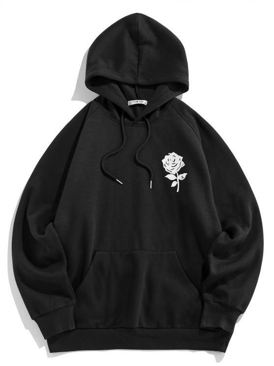 chic ZAFUL Rose Flower Print Fleece Hoodie - BLACK XL