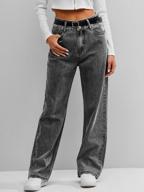 buy ZAFUL High Waist Wide Leg Jeans - GRAY S
