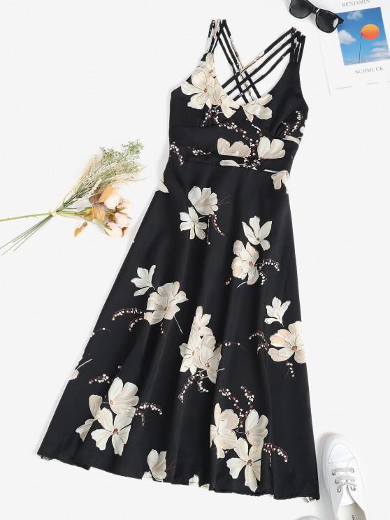 hot Floral Crisscross Open Back Midi Dress - BLACK S