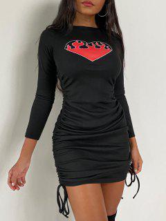 Vestido De Noche Acanalado Con Forma De Corazón - Negro L