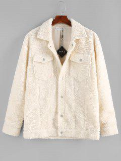 ZAFUL Solid Pocket Patch Teddy Jacket - White S