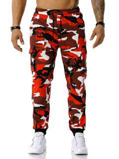 Pantalon De Jongging Camouflage Imprimé Cargo - Rouge Xxl