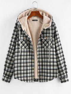 Plaid Hooded Pocket Fleece Lining Jacket - Black M