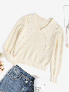 Flat Collar Knitted Plain Sweater - White