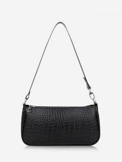 Brief Textured Shoulder Bag - Black