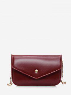 Retro Envelope Chain Crossbody Bag - Red Wine