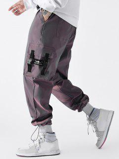 Buckle Strap Applique Drawstring Cargo Pants - Rose Gold 2xl