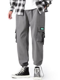 Pantalones De Carga Con Correa De Hebilla De Letras - Gris De Acorazado M