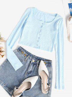 Rib-knit Button Down Long Sleeve Crop Top - Light Blue S